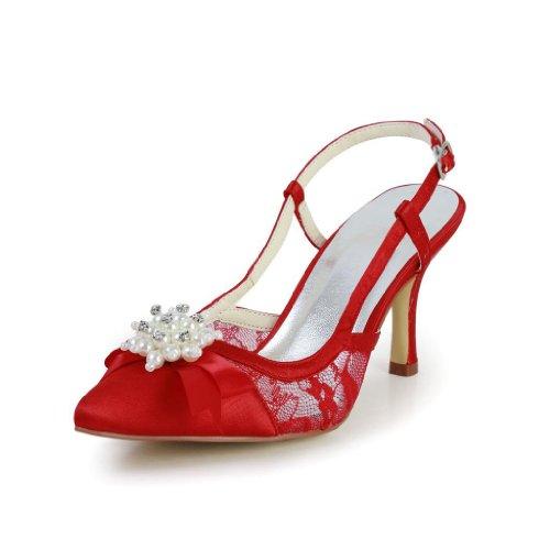 Jia Jia Wedding A3110 chaussures de mariée mariage Escarpins pour femme Rouge