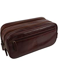 Mens Stylish Top Quality Leather Wash Bag by Visconti; Monza Travel Veg Tan
