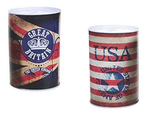 2er Set Spardose Vintage USA & UK Blechdose Metall Spardose ca.15 cm x 10 cm England Amerika Great Britain