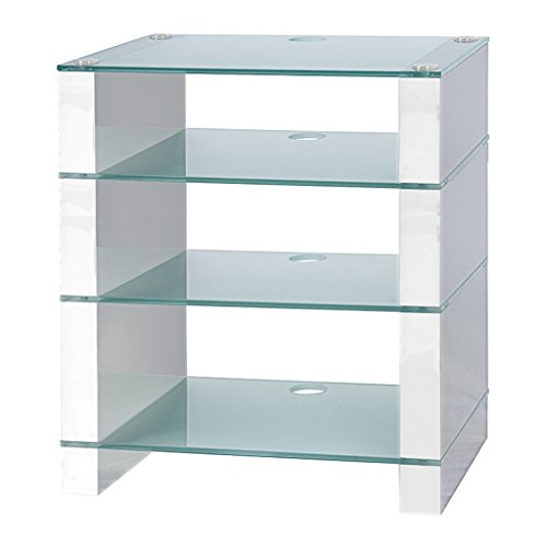 (HiFi Ständer, HiFi Rack, AV Audio stehen, und Weiß glänzend mit vier Drei Ablagen Glas geätzt)