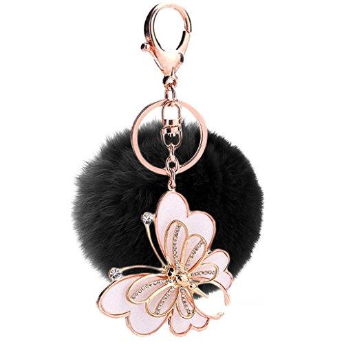 Mxixi Normallack Künstlich Kaninchen Pelz Ball Schmetterling Anhänger keychain flauschige Handtasche Charme Schlüsselring Auto Schlüssel Dekoration (Flauschig Schwarz Dekorationen)