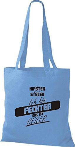 Shirtstown Stoffbeutel du bist hipster du bist styler ich bin Fechter das ist geiler hellblau