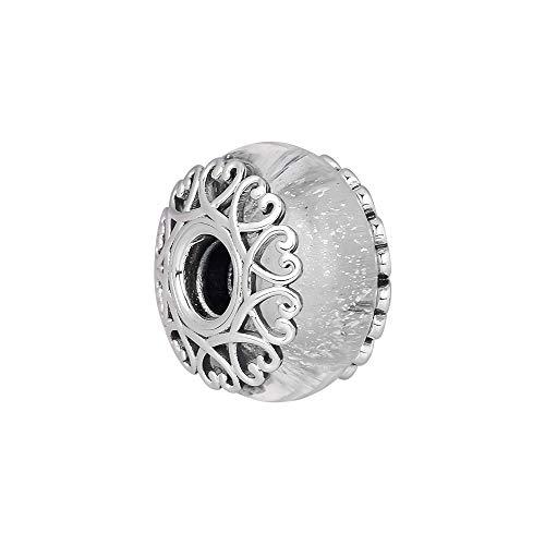 Cooltaste 2018autunno iridescente perline di vetro bianco argento 925diy adatto per originale pandora bracciali charm fashion jewelry