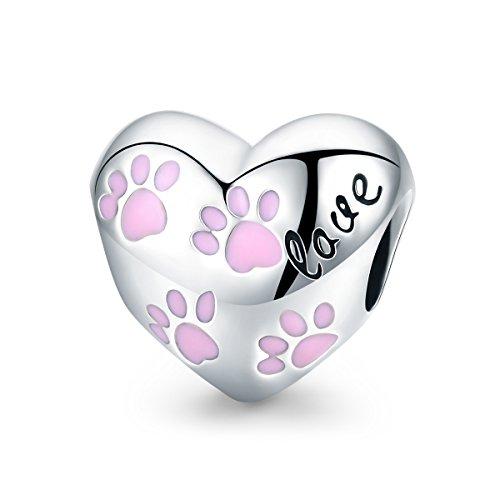 Forever queen bead charm per donne amore eterno in argento sterling 925 con motivo a orme di cane a forma di cuore ciondolo per bracciali europei bj09152