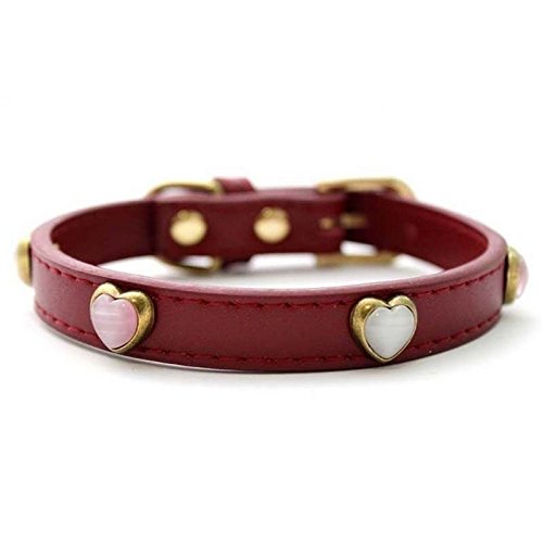 quickcor (TM) Fashion in pelle anticata collare per cane gatto Pet Puppy collare con cuore decorativo opali 2 colori Red