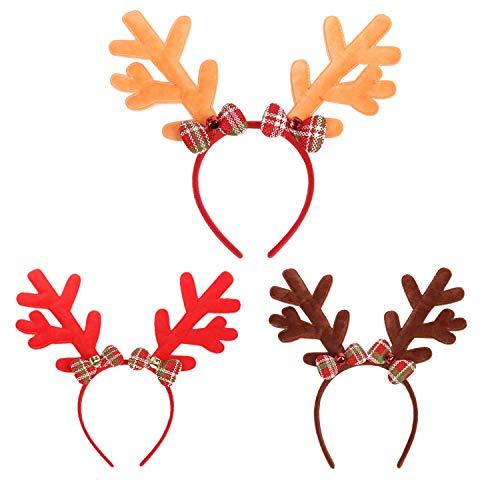 Drei Nette Mit Kostüm Familie - Kapmore Weihnachten Stirnband Haarband 3 STÜCKE Weihnachten Stirnband Nette Dekorative Geweih Bowknot Party Stirnband Haarband