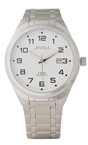 Baciami .POOLS 3171 Unisex-Armbanduhr   Wasserbeständigkeit: 5 ATM / Bar   mit Metallband   Weiß-Silber   Klassisches, Elegantes Fashion-Design