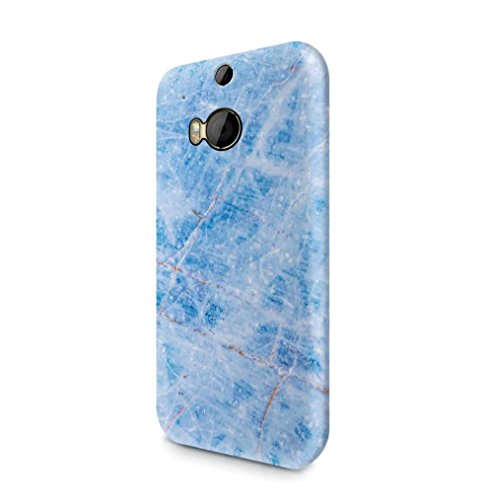 Ice Blue Rough Aquamarine Marble Stone Print Htc One M8 SnapOn Hard Plastic Phone Protective Fall Handyhülle Case Cover (Blue Screen Print)