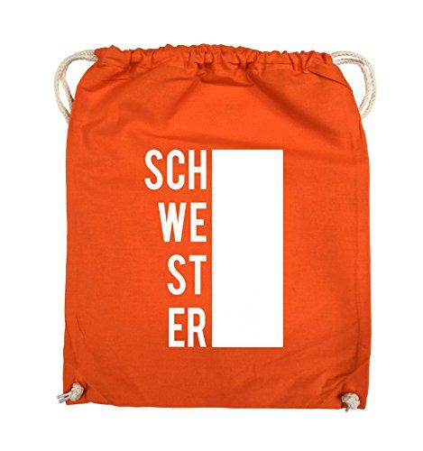 Comedy Bags - SCHWESTER - BLOCK - Turnbeutel - 37x46cm - Farbe: Schwarz / Pink Orange / Weiss
