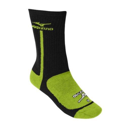 Mizuno Performance Textmarker Crew Socke, Damen Herren, Schwarz/Limone (Mizuno Socke Performance)