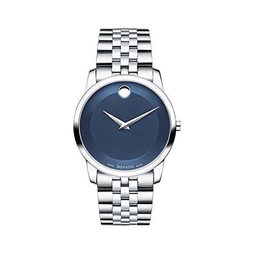 Movado da uomo con cinturino e cassa in acciaio svizzero al quarzo blu quadrante orologio analogico 0606982