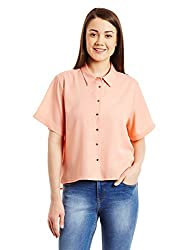 Van Heusen Womens Body Blouse Shirt (VWSH515D12490_Beige_M)