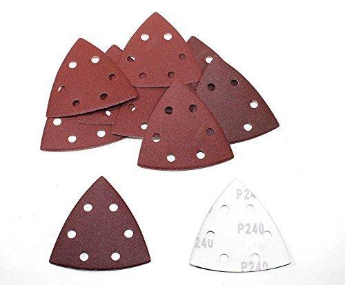 50 Blatt Delta Schleifpapier 93x93x93 mm 6 Loch (Klett/Haft System), Körnung 240 / Deltaschleifer/Schleifdreiecke -