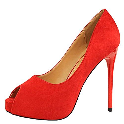 Oasap Women's Peep Toe Platform Slip-on Stiletto Pumps red