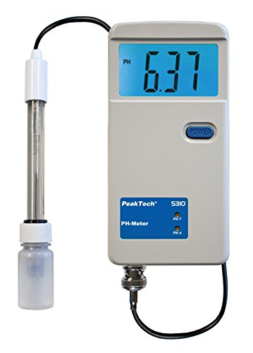 PeakTech PH M - Messgerät mit 0,00-14,00 PH - LCD Digital Messgerät für Aquarium, Schwimmbad, Pool, Wasserqualität, Labor und Haushalt, 1 Stück, P 5310