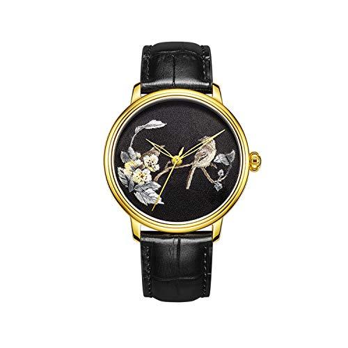 CHIYODA Stilvolle Stickerei-Uhr mit goldenen Kasten personifizierte Frauen-Blumen-gestickte Uhr für Hochzeit/Geschenk-Weihnachten/Danksagung für Mutter/Frau/Freundin (Ruhender Elster)
