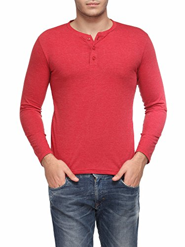 TSX Men's Cotton Henley T-Shirt (TSX-HENLEY-J-L_Red_Large)