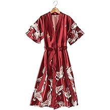 Bata de Kimono de las mujeres de moda sexy Bata de baño de seda satinada Rayón