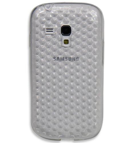 Luxburg® See-Through Schutzhülle für Samsung Galaxy S3 Mini GT-I8190 in Farbe Schwarz, Hülle Case aus TPU Silikon Bergkristall Weiß