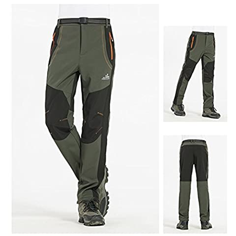 Softshell Pants Warm Keeping Trousers By LinTimes Men & Women Spring Winter Outdoor Sports Waterproof Windproof Trousers for Camping Hiking Skiing Male Army Green M
