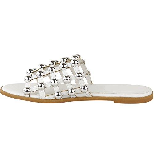 Claquettes plates - à clous - été - femme Faux cuir blanc