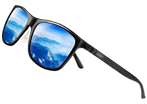 WHCREAT Retro Fahren Sonnenbrille Polarisierte Für Herren und Damen Mit Federscharnier AL-MG Rahmen - Schwarz Rahmen Blau Linse