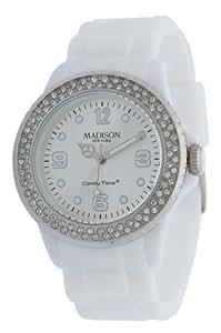 Weiße Damen Madison New York Armbanduhr veredelt mit SWAROVSKI ELEMENTS