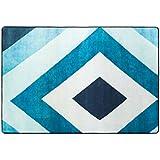 YMXLQQ Geométrica alfombra sala de estar mesa de café azul cojín del pie dormitorio cabecera de la cama Alfombra ( Color : 2 , Tamaño : 140*200cm )