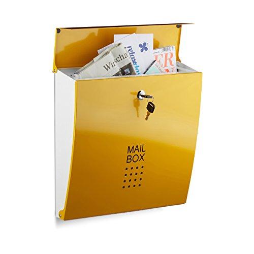 Relaxdays Briefkasten Gelb, Modern, Mit Schloss, DIN A4 Einwurf, HxBxT: 33,5 x 35 x 10 cm, Wandbriefkasten, Yellow