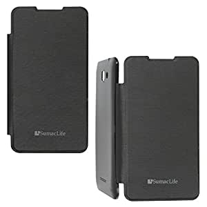 SumacLife PU Leather Flip Cover Case for Micromax Canvas XL2 A109 (Black)