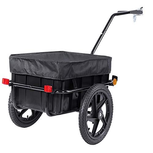 GOTOTOP Fahrradwagen, schwarzer Gepäckträger mit Tragegriff und Abdeckung für Gepäckaufbewahrung, Buggy mit Abschleppstange