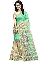 Orangesell Women's Softy Silk And Net Saree With Blouse Piece (S1019, Pista Green & Cream, Free Size)