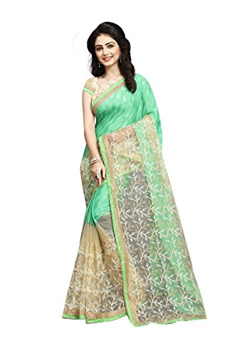 Orangesell softy silk and net Bhagalpuri Sarees for women party wear New Collection Fancy & Regular Wear Fancy pista green & cream Colors Saree In Low Price