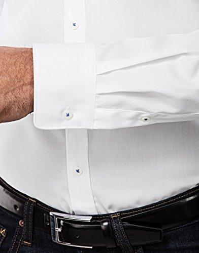 Vincenzo Boretti Herren-Hemd Button-Down Kragen Bügelfrei 100% Baumwolle Slim-Fit Tailliert Uni-Farben - Männer Lang-Arm Hemden für Anzug mit Krawatte Business Hochzeit Weiß