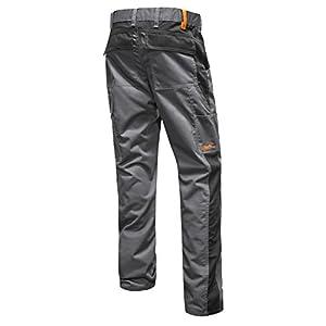 strongAnt® – Pantalones Elasticos Hombre, Pantalón de Trabajo Berlin Pro 260 GR con Bolsillo para Rodillera, Cremallera YKK + botón de Metal YKK – Hecho en la UE – Negro Gris