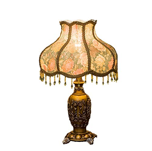 Hand Geschnitzten Couchtisch (SNDJBD KJZhu Tassel Resin Tischlampe, Druck Lampenschirm klassischen Stil Hand Geschnitzte Tischlampe Restaurant Couchtisch Korridor Tischlampe Schlafsaallampe (größe : 33 * 52CM))