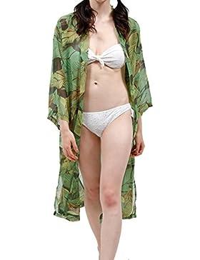 Mujeres Floral Flor Mantón Kimono Blusa Escudo Cardigan Tops Bikini Cover Up