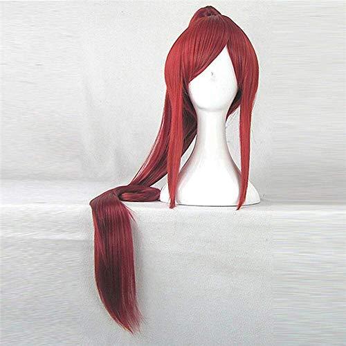 anime fairy tail erza scarlet 100cm lang kunsthaar rot kostüm perücke schöne perucas cosplay perücke with1 pferdeschwanz halloween (Halloween Frisuren Fairy)