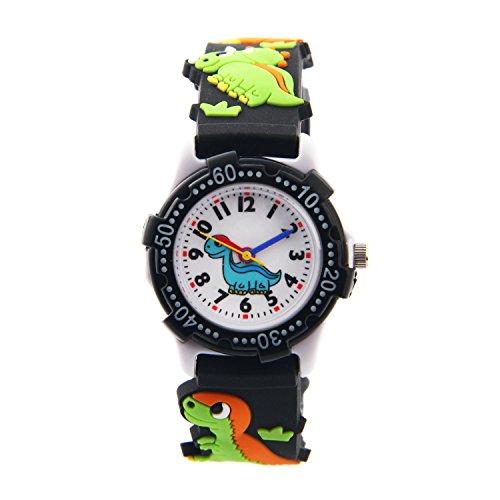 t 3D Cute Cartoon Digital Armbanduhren Time Teacher Geschenk für kleine Mädchen Jungen Kids Kinder Umweltfreundlich Silikon Armbanduhr (schwarz Dinosaurier) (Dinosaurier-kid)