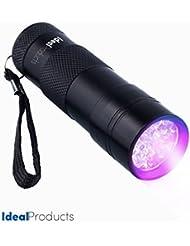 Ideal Products Linterna 12 Led Ultravioleta - Uso Doméstico (Detectora de Orines y Manchas de Animales), camping y otros usos medicos