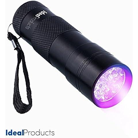 Ideal Products Linterna 12 Led Ultravioleta - Uso Doméstico (Detectora de Orines y Manchas de Animales), camping y otros usos