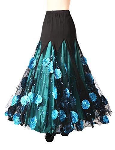 ock Damen Moderner Tanzrock Maxirock Party Ballsaal Full Lange Swing Kleid - Latein Tango Standard Röcke Kleid Walzer ()