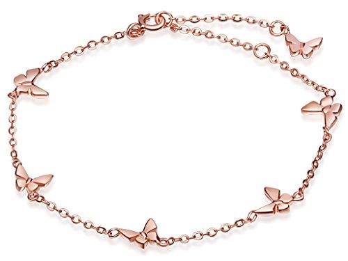 Unendlich U Niedlich 6 Schmetterling Damen Charm-Armband Gliederarmband 925 Sterling Silber Armkette Armkettchen Armreif, Rosegold (Schmetterlings-armband)