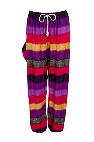 Haremshose - Aladdin Hippie Hose mit Taillenschnürung Colourful Purple Red