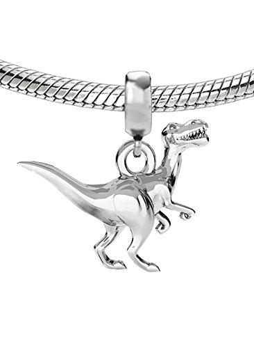 Auténtica plata de ley 925Abalorio charm dinosaurio, ideal para cierre de pulsera o collar C5B