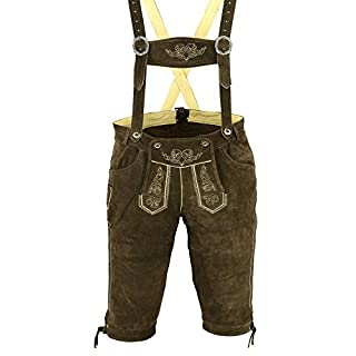 Awans Mens Bavarian Lederhosen with Matching Suspenders Shorts Cowhide Leather: Brown Size: 34 inch