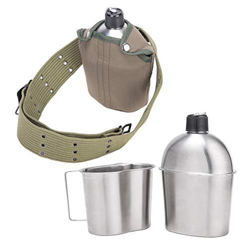 Pinty Bottiglia d'Acqua Militare Borracce in Acciaio Inox con Tazza Borsa e Cintura Borraccia da Trekking Leggero per Il Campeggio con Maniglia Pieghevole (A)