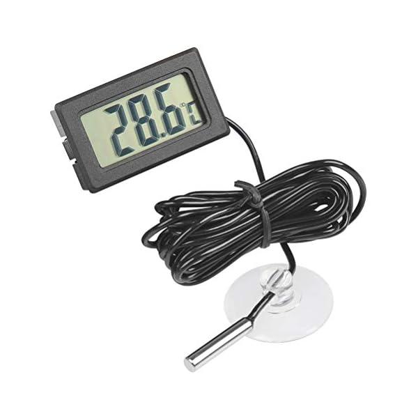 YOTINO 1Pcs Aquarium Thermometer With Probe, Digital LCD Embedded Temperature Gauge for Fishtank, Freezer…