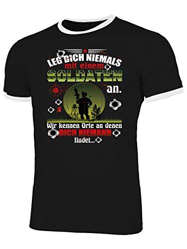 Golebros Leg Dich Niemals mit Einem Soldaten An - Wir Kennen Orte An denen Dich Niemand Findet 5344 Herren Ringer T-Shirt (HR=Schwarz/Weiss) Gr. XL