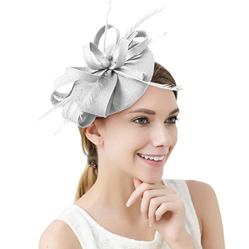Damen Elegant Fascinator Hut Braut Hair Clip Accessoires Cocktail Royal Ascot (Hellrosa)